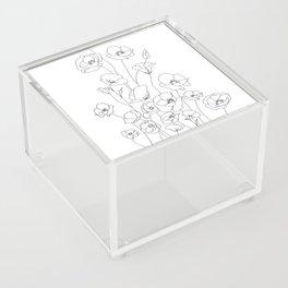Poppy Flowers Line Art Acrylic Box