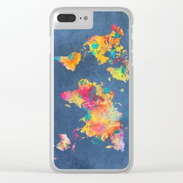 world map blue 2061 #map #worldmap Clear iPhone Case