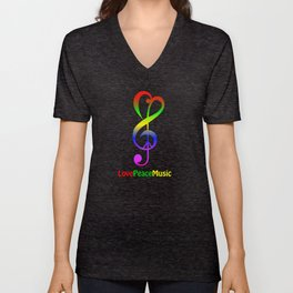 Love peace music hippie treble clef Unisex V-Neck