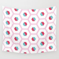 hexagon Wall Tapestries featuring Hexagon Pattern by C Designz