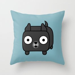 Pitbull Loaf - Black Pit Bull with Cropped Ears Throw Pillow