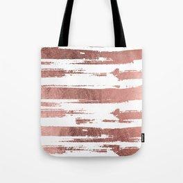 Elegant white faux rose gold brushstrokes stripes pattern Tote Bag