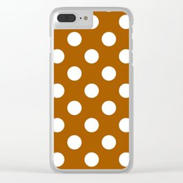 Windsor tan - brown - White Polka Dots - Pois Pattern Clear iPhone Case