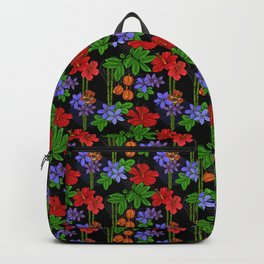 Jamaican Flowers and Fruits Tropical Pattern Backpack
