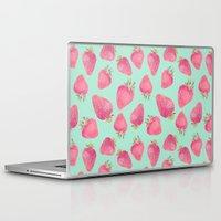 strawberry Laptop & iPad Skins featuring Strawberry  by Marta Olga Klara