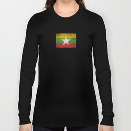 Old and Worn Distressed Vintage Flag of Myanmar Long Sleeve T-shirt