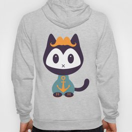 Cute kitten in t-shirt with anchor Hoody