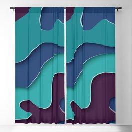 Paper Cutout Blue Waves 028 Blackout Curtain
