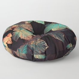 Copper And Teal Leaves Floor Pillow