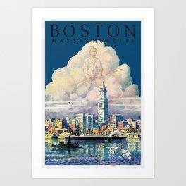Vintage Boston Massachusetts Travel Art Print