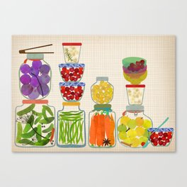 Bottled pickles and fruits Canvas Print