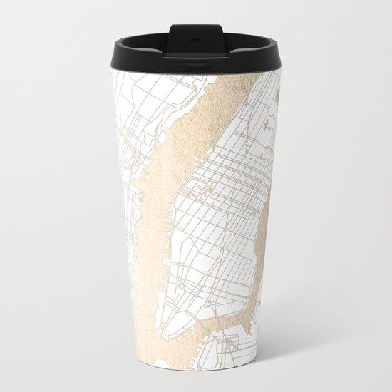 New York City White on Gold Metal Travel Mug