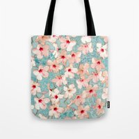 bedding Tote Bags featuring Shabby Chic Hibiscus Patchwork Pattern in Peach & Mint by micklyn