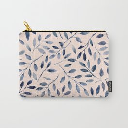 Blue grey leaves watercolor pattern Carry-All Pouch