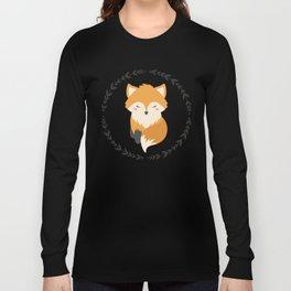 Sleepy Fox Pattern Long Sleeve T-shirt