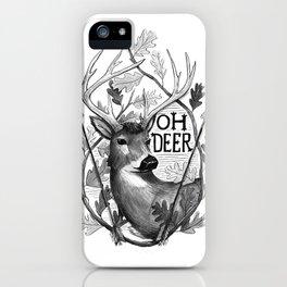 Oh Deer B&W iPhone Case