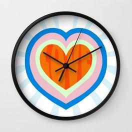 heart of love, orange Wall Clock