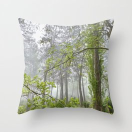 Foggy morning into the dream forest Throw Pillow