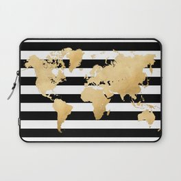 Gold world map black and white stripes Laptop Sleeve