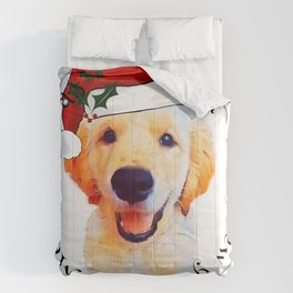 Golden retriever,Christmas puppy.. Gift idea for dog lovers Comforters