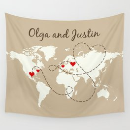 Personalized World Map Love Story Wall Tapestry