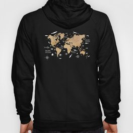 World map red Oceans Life Hoody