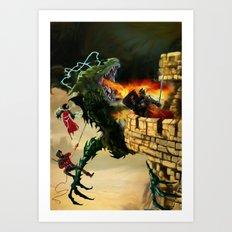 Dragon Burns Castle Art Print