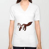 ferret V-neck T-shirts featuring Ferret! by Sarah Engbretsen