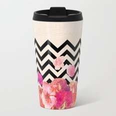 Chevron Flora II Travel Mug