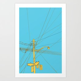 Cables and wires over Queen and Bathurst Art Print