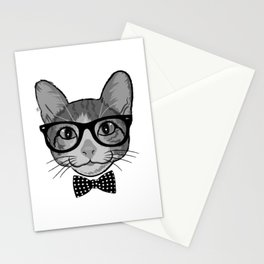 Cat Hipster With Polka Dots Bow Tie - Black White Stationery Cards