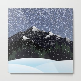 Snow falling on mountains in the winter season Metal Print