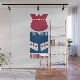 Nordic Red Flower Wall Mural