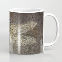 Dragonfly On Distressed Metallic Grey Background Coffee Mug