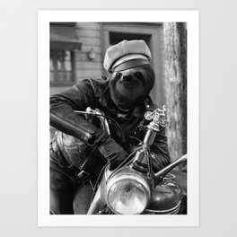 Sloth on a motorcycle Art Print