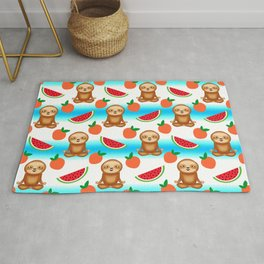 Cute funny sweet adorable relaxed chilling meditating zen sloths, little peaches and red ripe summer tropical watermelons cartoon fantasy white blue pattern design Rug