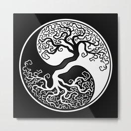 White and Black Tree of Life Yin Yang Metal Print