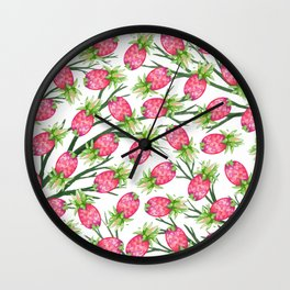 Summer tropical pink green watercolor pineapple floral Wall Clock