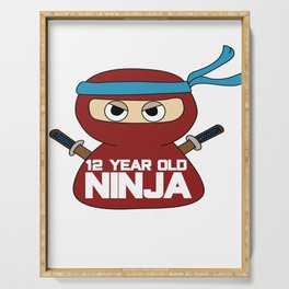 Birthday Ninja Party Samurai Ninjas Gift Japanese Ninja stars Fighter Gift 12th Serving Tray