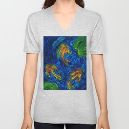 Impressionist Koi Fish by Sharon Cummings Unisex V-Neck