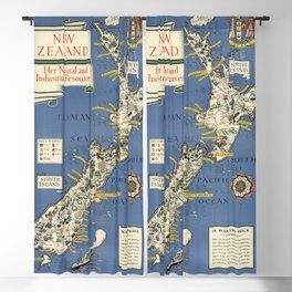 1943 Vintage Map of New Zealand Blackout Curtain