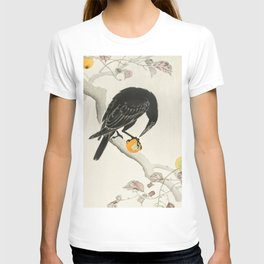 Crow eating persimmon Fruit - Vintage Japanese Woodblock Print Art T-shirt
