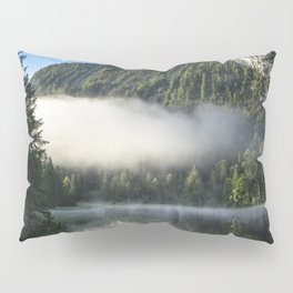 Misty Cloud over Lake. Amazing shot of a wooden house in the Ferchensee lake in Bavaria, Germany, in front of a mountain belonging to the Alps. Pillow Sham