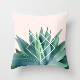 Agave geometrics - peach Throw Pillow