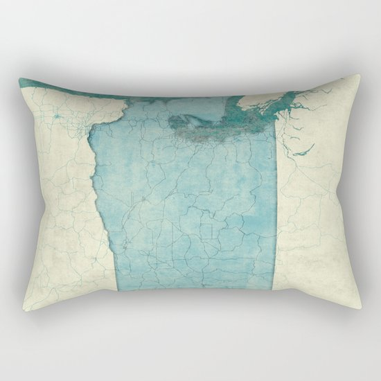 Washington State Map Blue Vintage Rectangular Pillow
