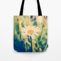 rileigh smirl Tote Bags featuring Daisy by Rileigh Smirl