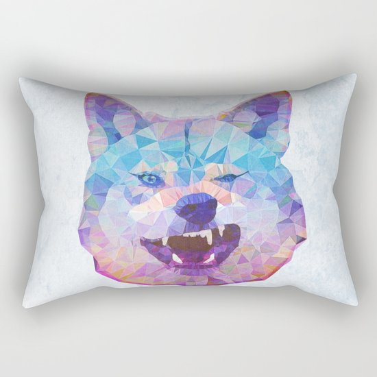 abstract rainbow wolf Rectangular Pillow