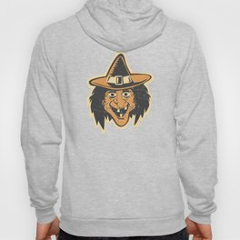 Retro Creepy Halloween Witch Mask Face Hoody