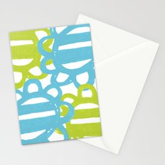 Fun Flowers Large blue green Stationery Cards