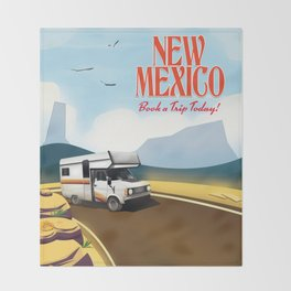 """New Mexico Travel poster. """"Book a trip today"""" Throw Blanket"""